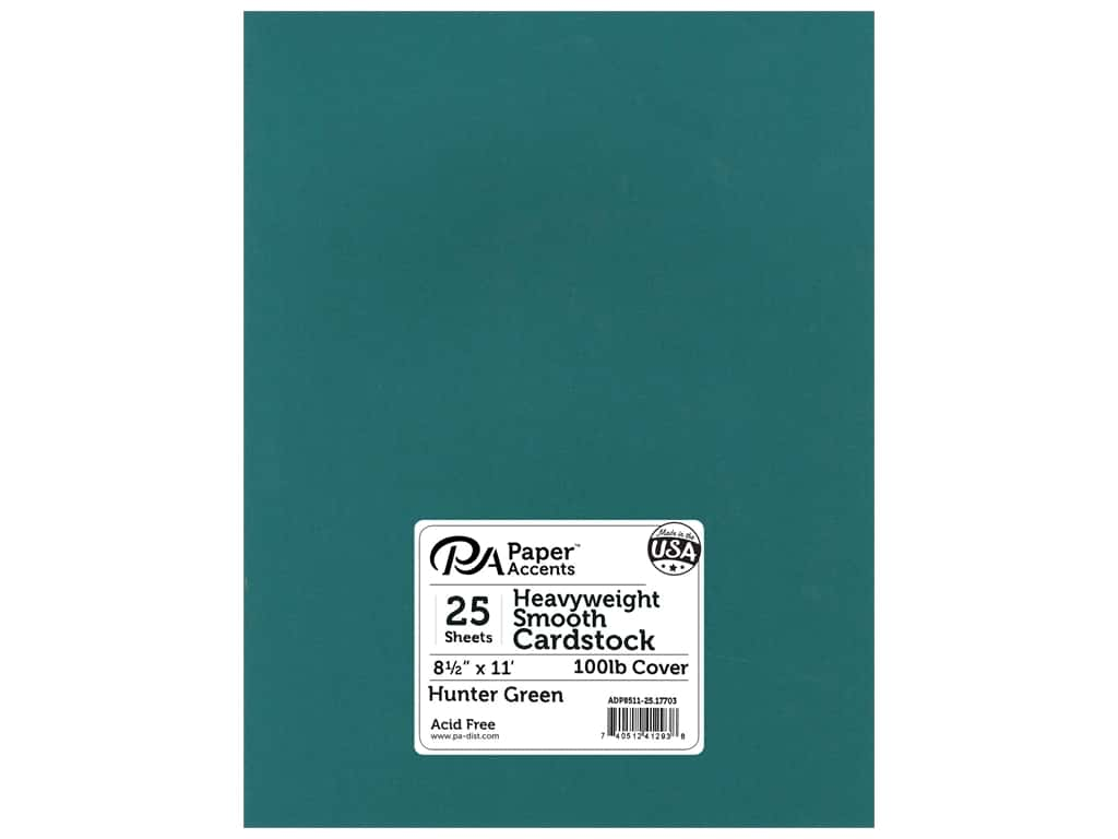 Paper Accents Cardstock 8 1/2 x 11 in. #17703 Heavyweight Smooth Hunter Green 25 pc.