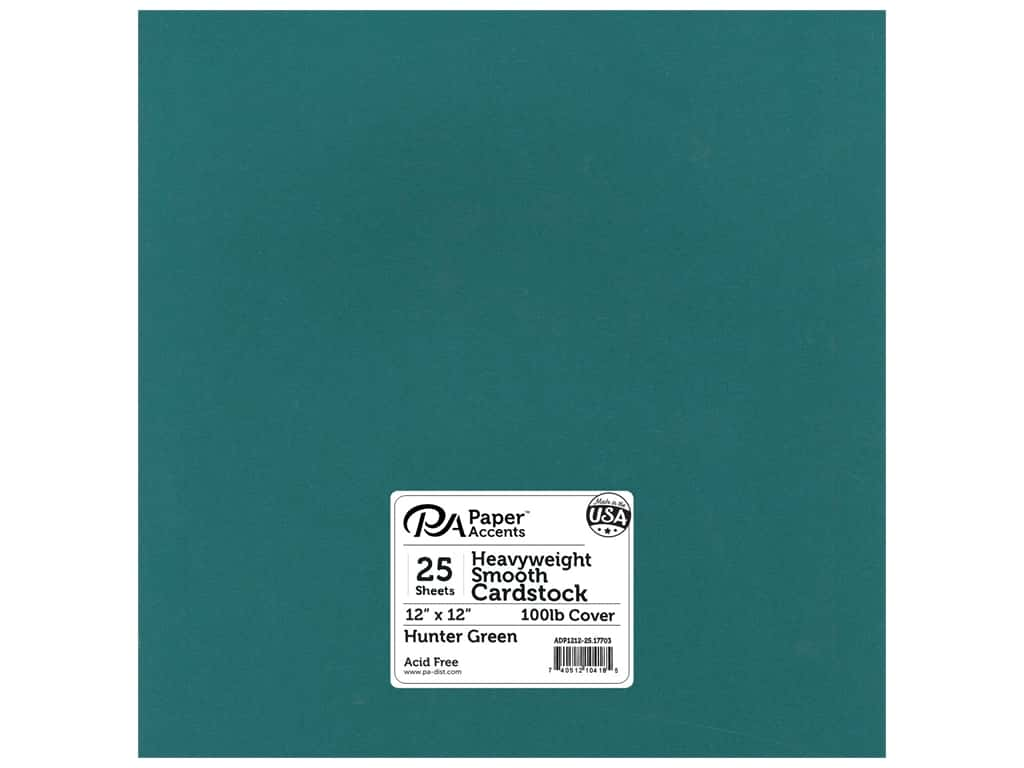 Paper Accents Cardstock 12 x 12 in. #17703 Heavyweight Smooth Hunter Green 25 pc.