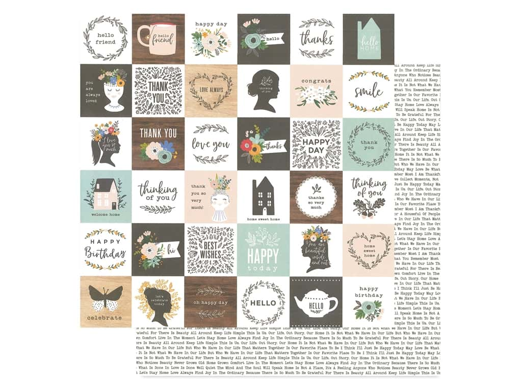 Pebbles Collection Along The Way Jen Hadfield Paper 12 in. x 12 in. Sweet Sentiments (25 pieces)