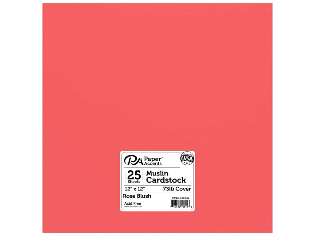 Paper Accents Cardstock 12 x 12 in. #8102 Muslin Rose Blush 25 pc.