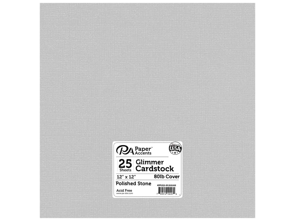 Paper Accents Cardstock 12 x 12 in. #2101005 Glimmer Polished Stone 25 pc.