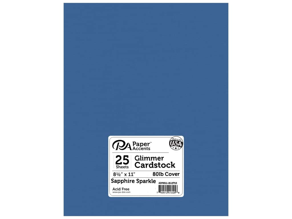 Paper Accents Cardstock 8 1/2 x 11 in. #27713 Glimmer Sapphire Sparkle 25 pc.