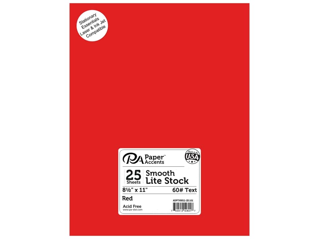 Paper Accents Stationery 8 1/2 x 11 in. Red 25 pc.