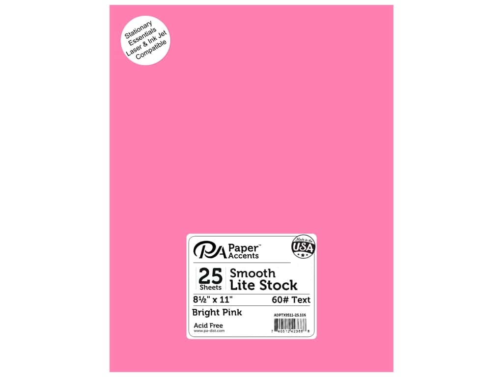 Paper Accents Lite Stock 8 1/2 x 11 in. Smooth Bright Pink 25 pc.