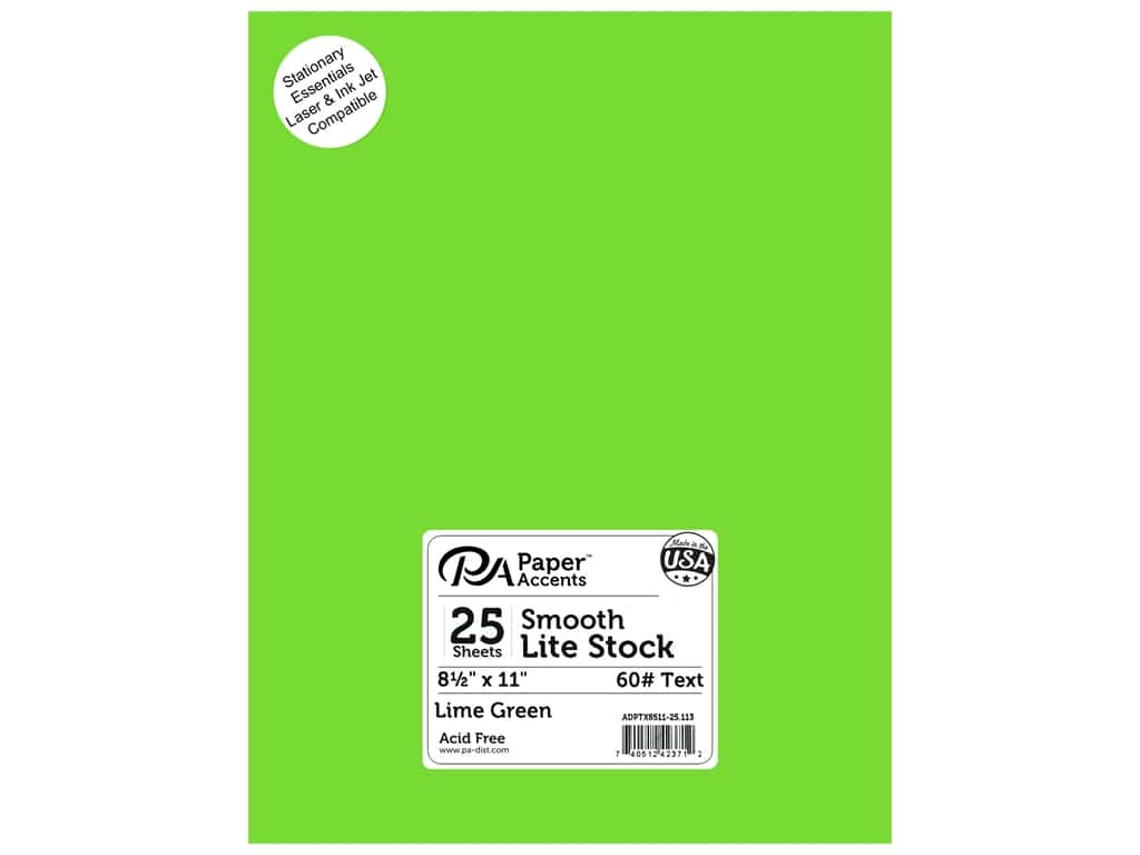 Paper Accents Lite Stock 8 1/2 x 11 in. Smooth Lime Green 25 pc.