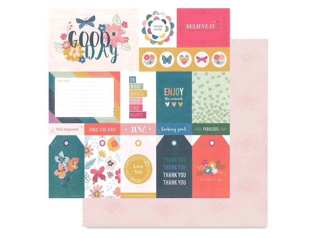 Pink Paislee Collection Whimsical 12 in. x 12 in. Paper 1 (25 pieces)
