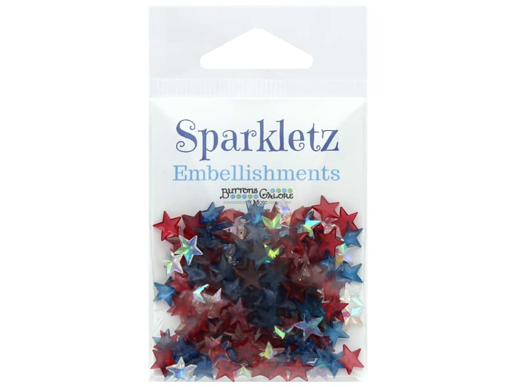 Buttons Galore Embellishments Sparkletz 15 gm Patriotic Stars (3 ounces)