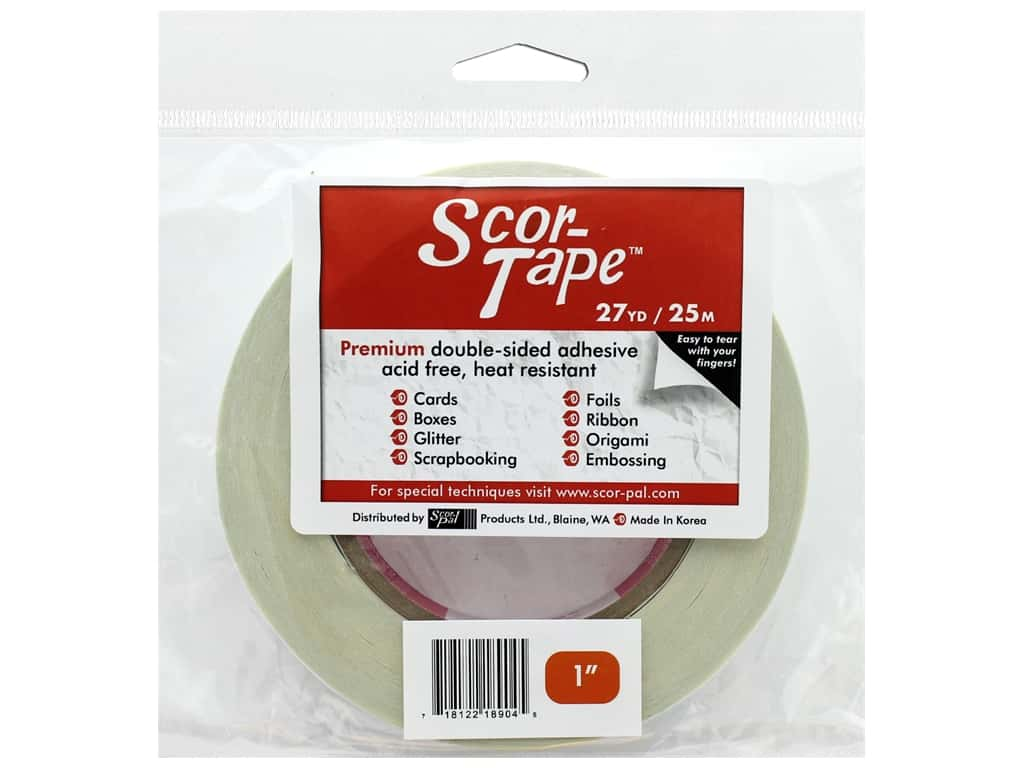 Scor-Pal Scor-Tape Double Sided Adhesive 1 in. x 27 yd.