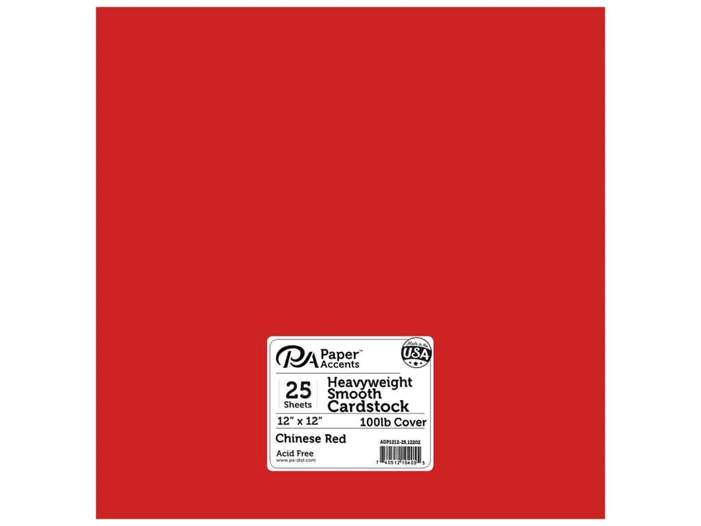 Paper Accents Cardstock 12 x 12 in. #12202 Heavyweight Smooth Chinese Red (25 sheets)