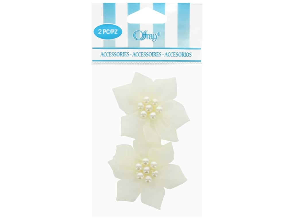 Offray Sheer Petal Ribbon Rose 2 pc. Cream