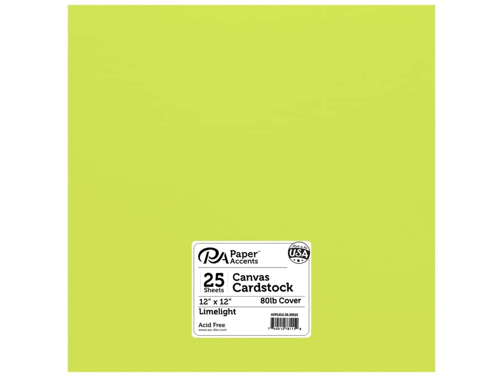 Paper Accents Cardstock 12 x 12 in. Canvas Limelight 25 pc.