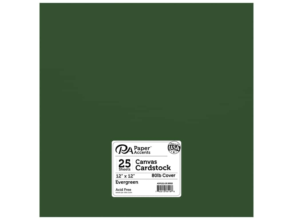 Paper Accents Cardstock 12 x 12 in. #55522 Canvas Evergreen 25 pc.