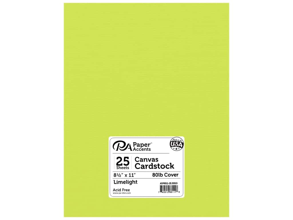 Paper Accents Cardstock 8 1/2 x 11 in. #55515 Canvas Limelight 25 pc.