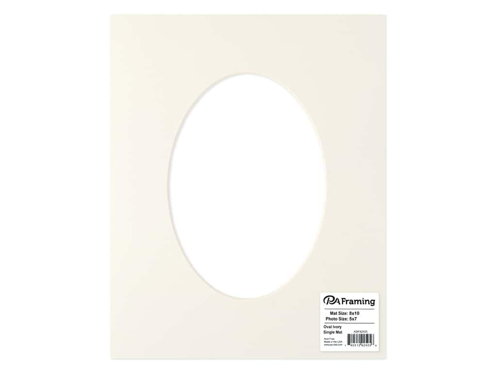 PA Framing Pre-cut Oval Photo Mat Board Cream Core 8 x 10 in. for 5 x 7 in. Photo Ivory