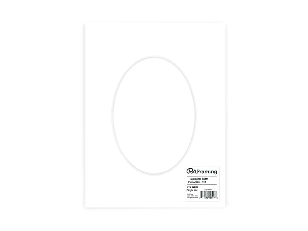 PA Framing Pre-cut Oval Photo Mat Board White Core 8 x 10 in. for 5 x 7 in. Photo White