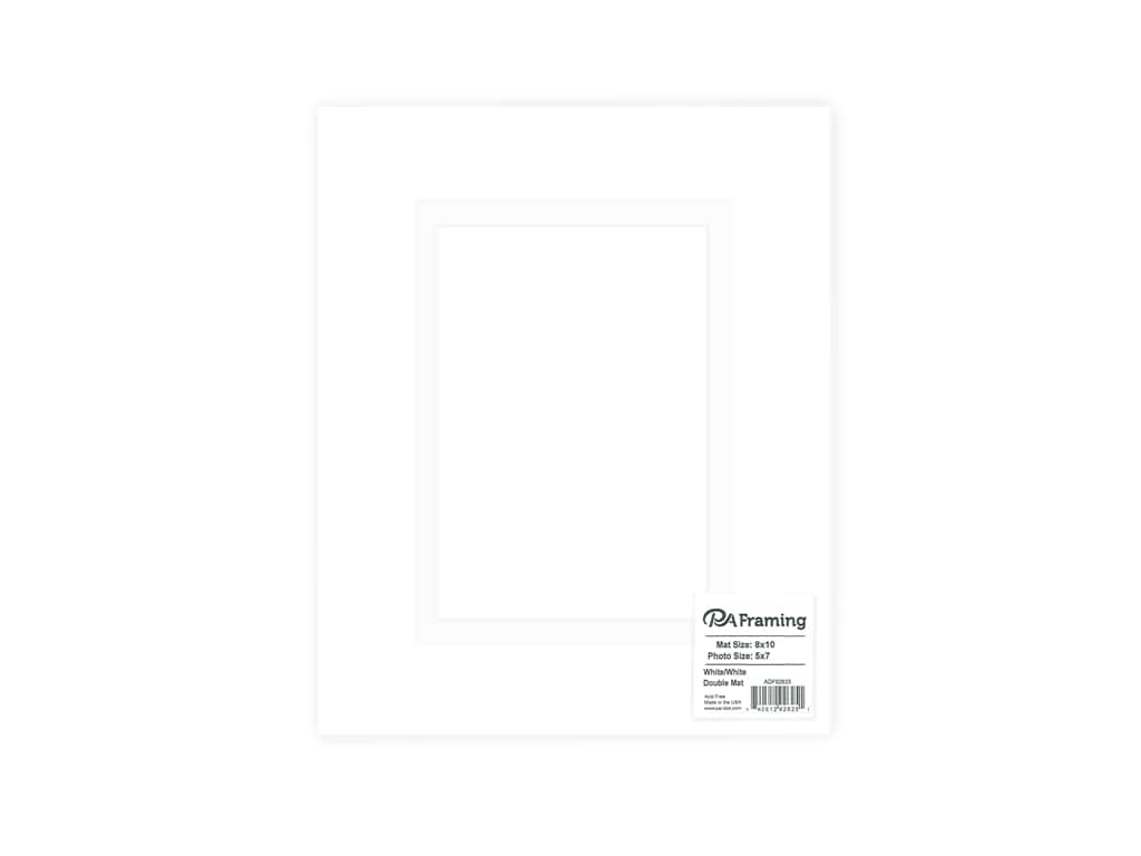 PA Framing Pre-cut Double Photo Mat Board White Core 8 x 10 in. for 5 x 7 in. Photo White/White