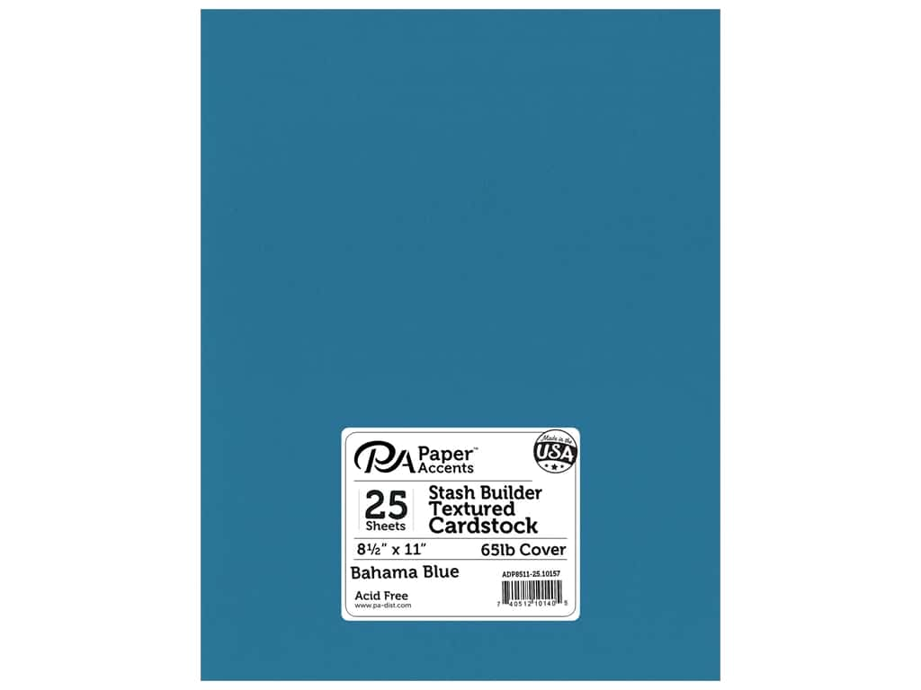 Paper Accents Cardstock 8 1/2 x 11 in. #10157 Stash Builder Textured Bahama Blue 25 pc.