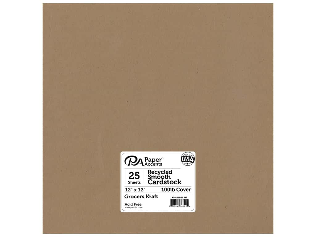 Paper Accents Cardstock 12 x 12 in. #367 Recycled Grocers Kraft - 100 lb. 25 pc.