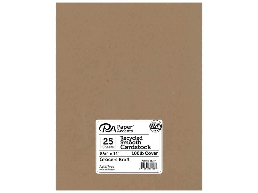 Paper Accents Cardstock 8 1/2 x 11 in. #367 Recycled Grocers Kraft - 100 lb. 25 pc.