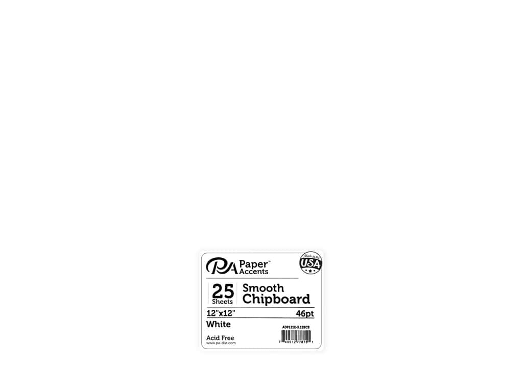 Paper Accents Chipboard 12 x 12 in. 46 pt. Extra Heavy White 25 pc.