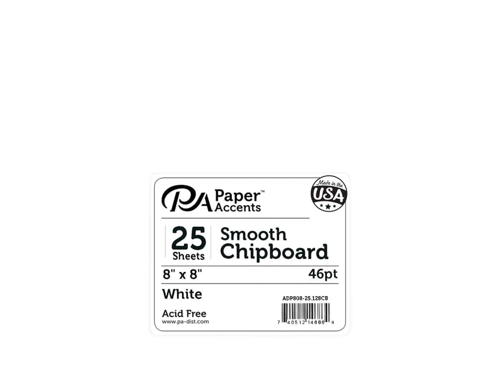 Paper Accents Chipboard 8 x 8 in. 46 pt. Extra Heavy White 25 pc.