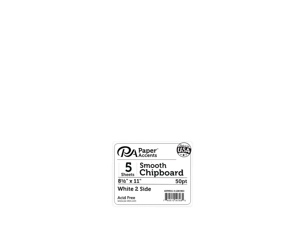 Paper Accents Chipboard 8.5 in. x 11 in. XL Heavy 50 pt White 2 Side 5 pc