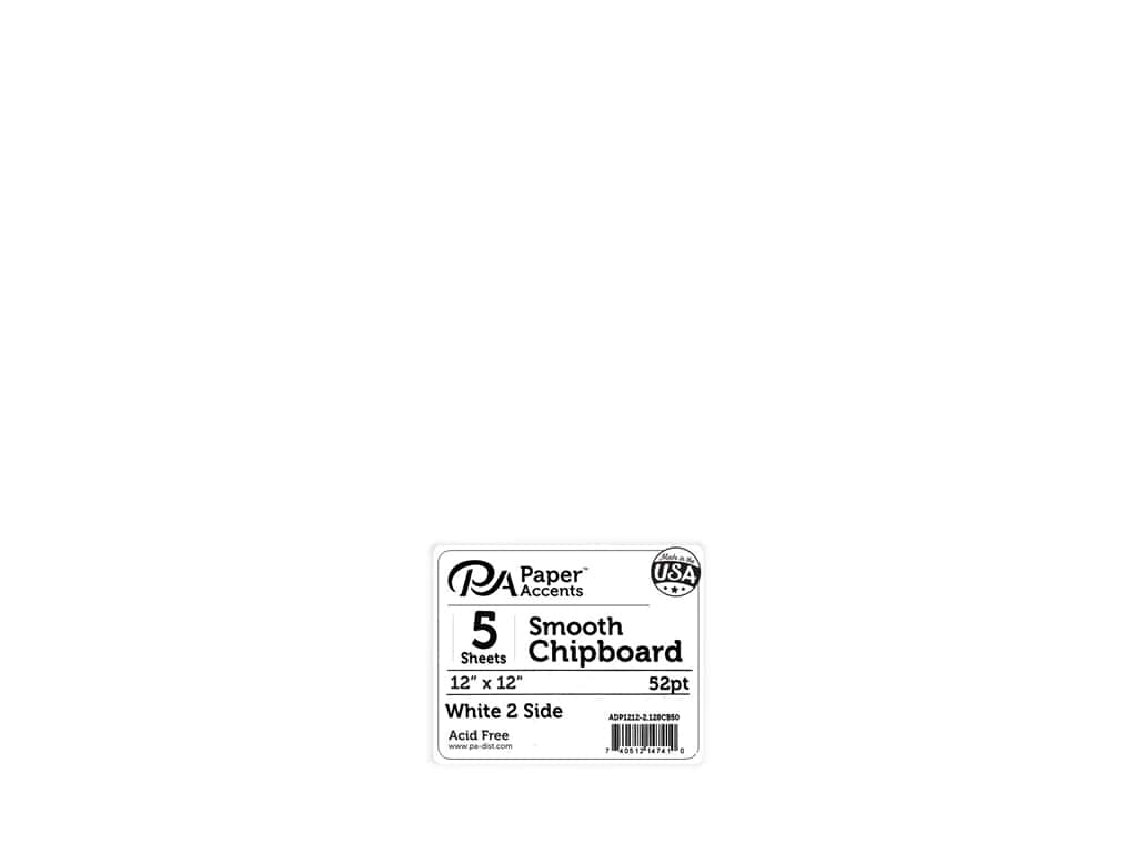 Paper Accents Chipboard 12 in. x 12 in. XL Heavy 50 pt White 2 Side 5 pc