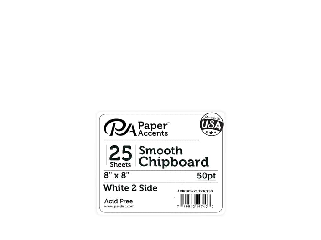 Paper Accents Chipboard 8 x 8 in. 50 pt. Extra Heavy 2-Sided White 25 pc.