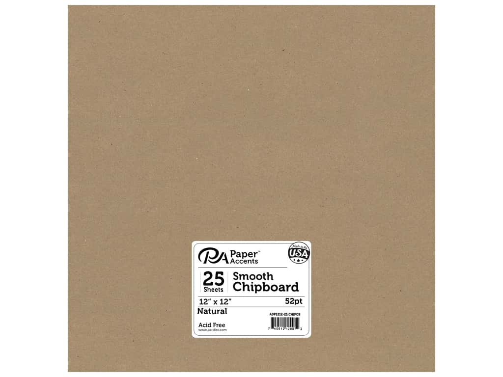 Paper Accents Chipboard 12 x 12 in. 52 pt. Extra Heavy Natural 25 pc.