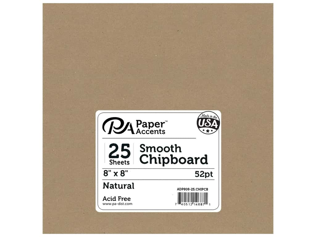 Paper Accents Chipboard 8 x 8 in. 52 pt. Extra Heavy Natural 25 pc.