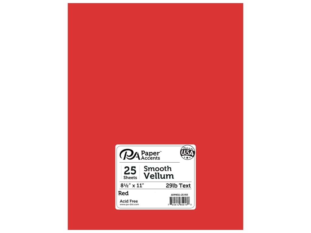 Paper Accents Vellum 8 1/2 x 11 in. #916 Red (25 sheets)