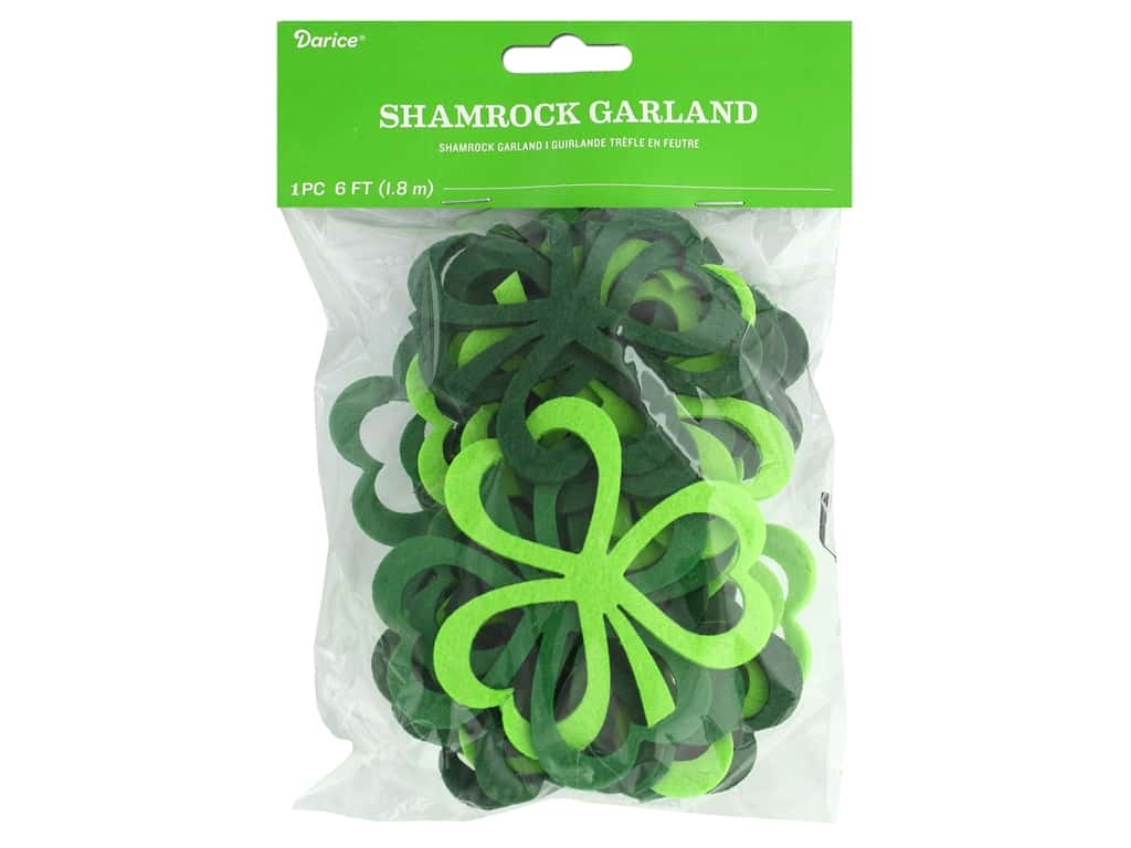 Darice Felties Garland Shamrock 6 ft