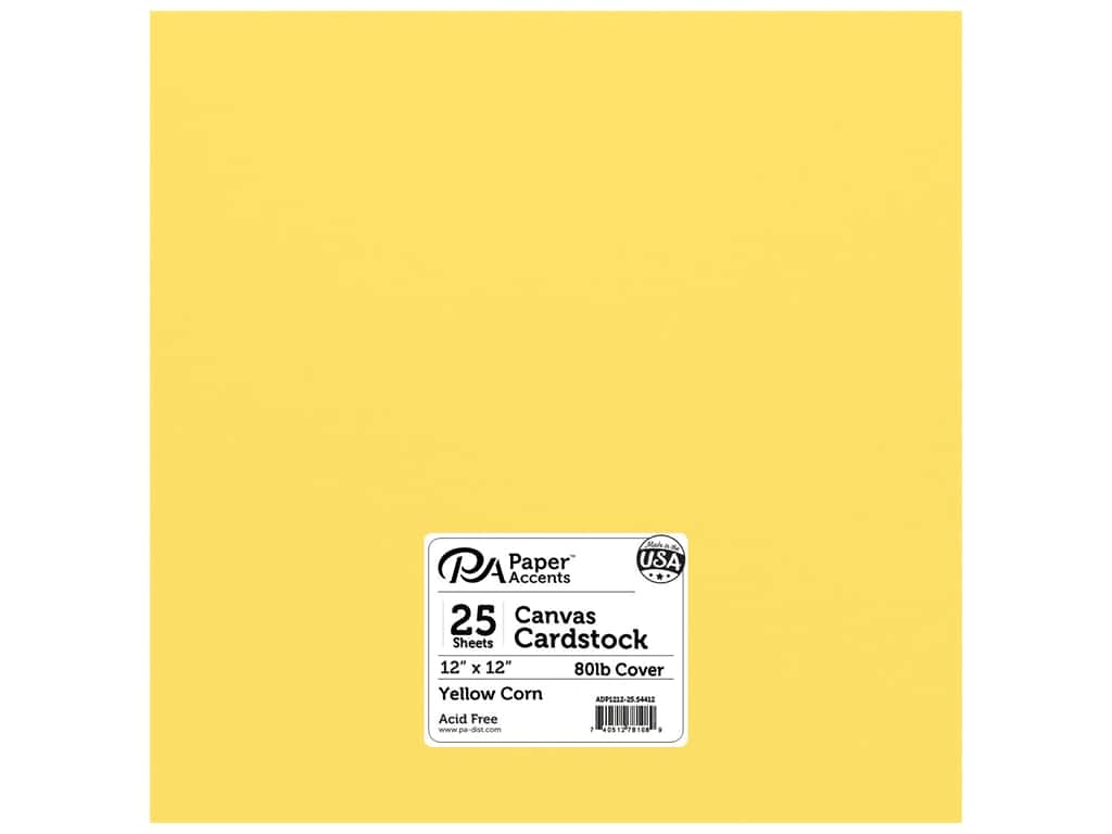 Paper Accents Cardstock 12 x 12 in. Canvas Yellow Corn 25 pc.
