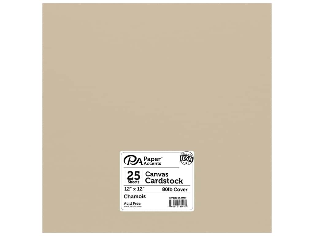 Paper Accents Cardstock 12 x 12 in. Canvas Chamois 25 pc.