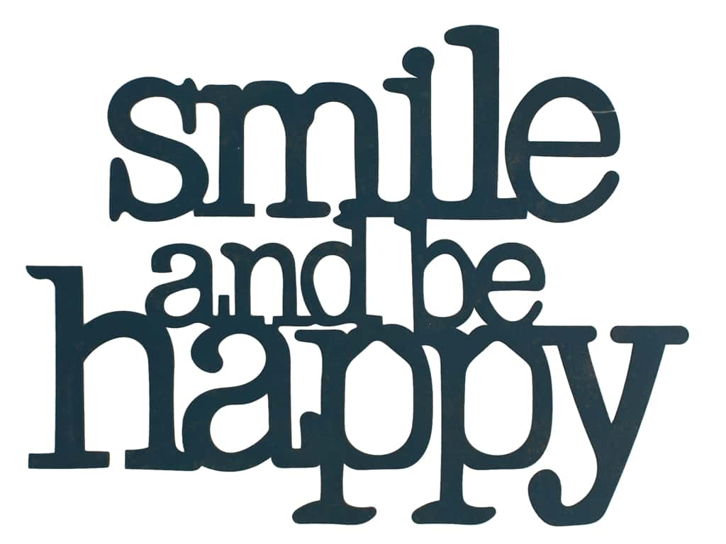 Sierra Pacific Wall Art Plaque Smile & Be Happy 9.75 in. x 7.25 in. Navy