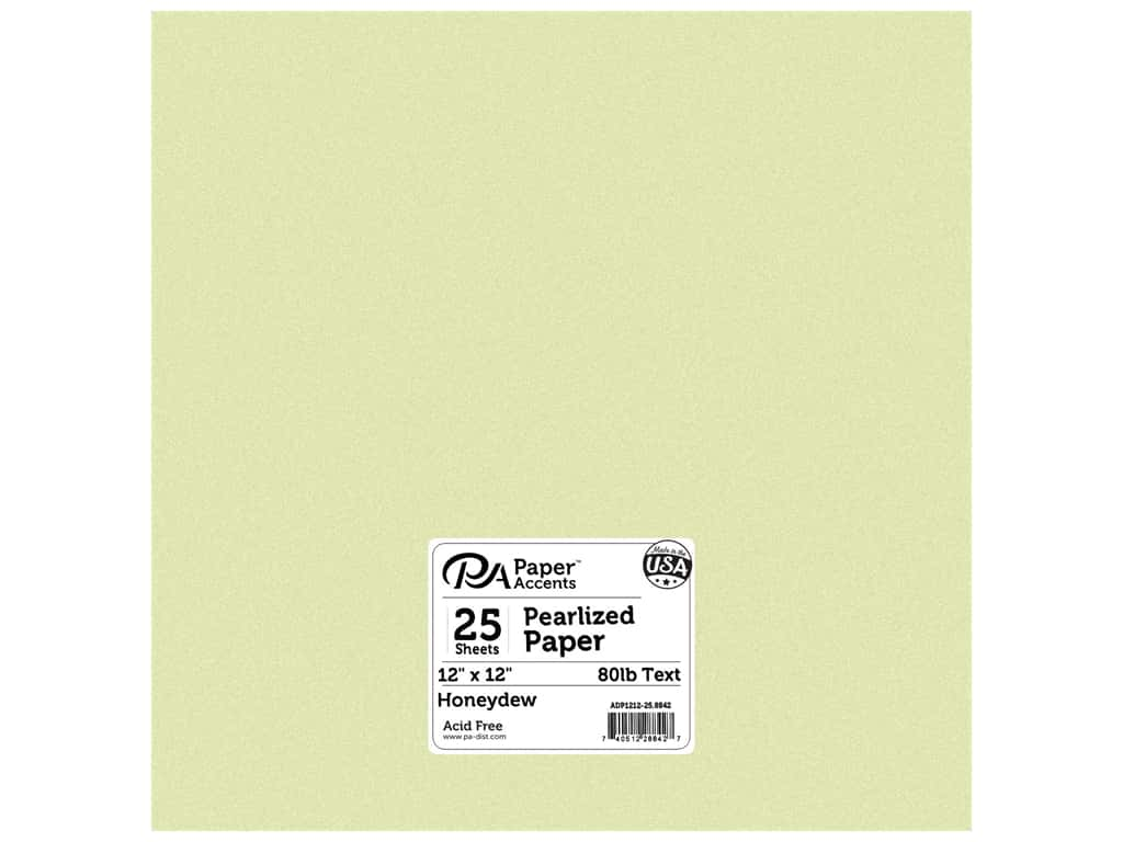 Paper Accents Pearlized Paper 12 x 12 in. #8842 Honeydew