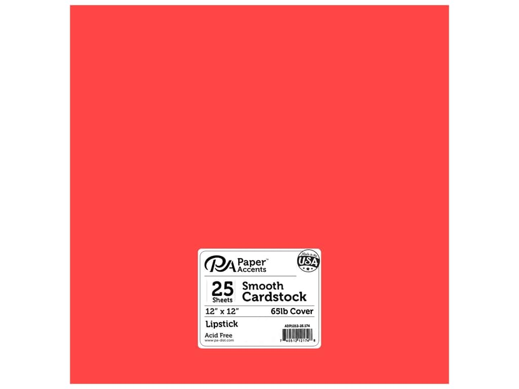 Paper Accents Cardstock 12 x 12 in. #174 Smooth Lipstick 25 pc.