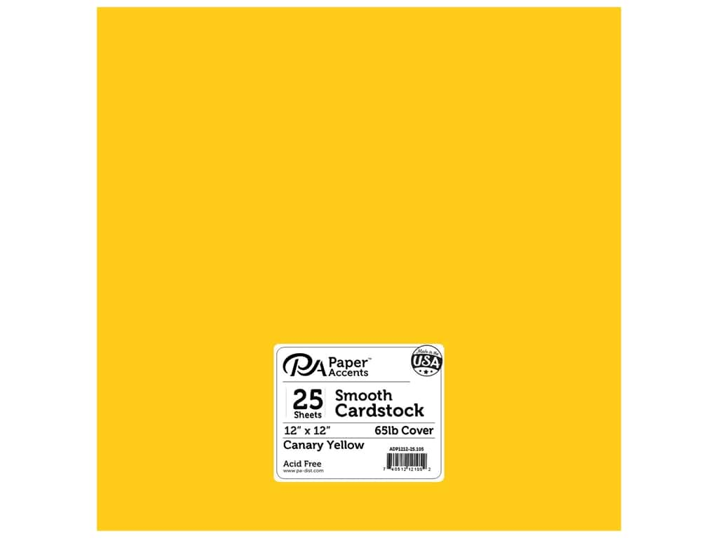 Paper Accents Cardstock 12 x 12 in. #105 Smooth Canary Yellow 25 pc.