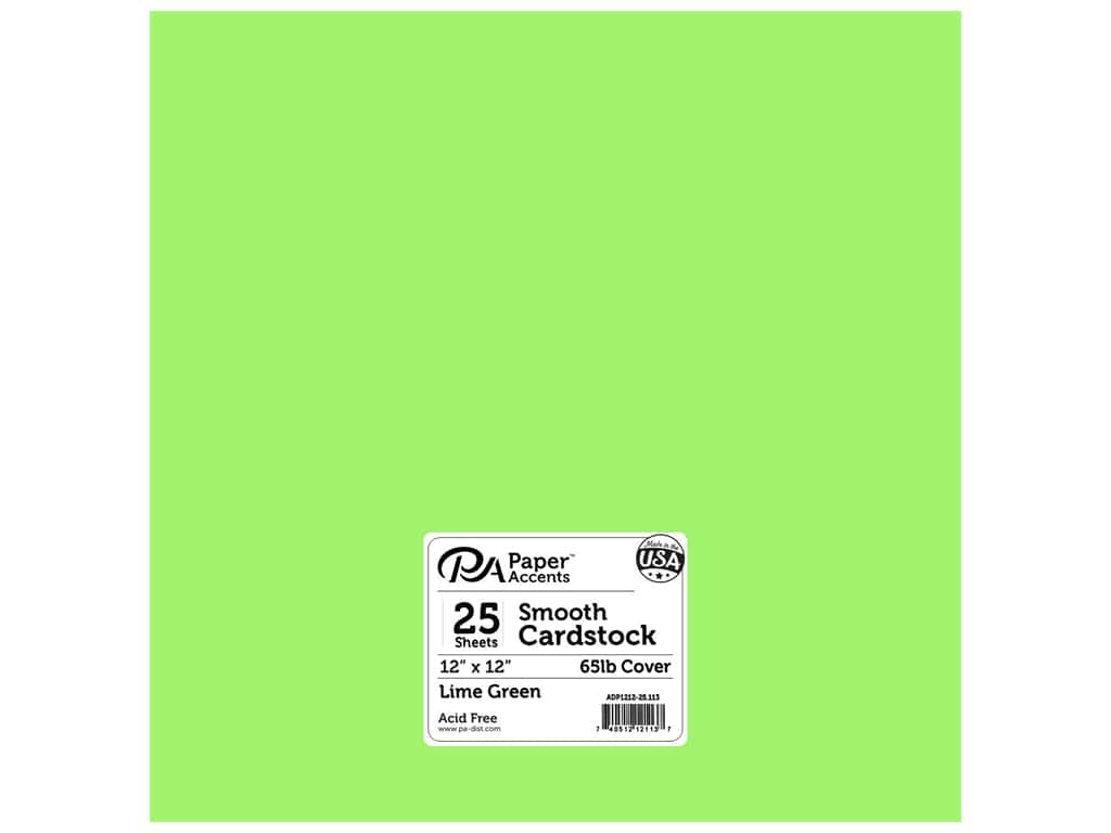 Paper Accents Cardstock 12 x 12 in. #113 Smooth Lime Green 25 pc.