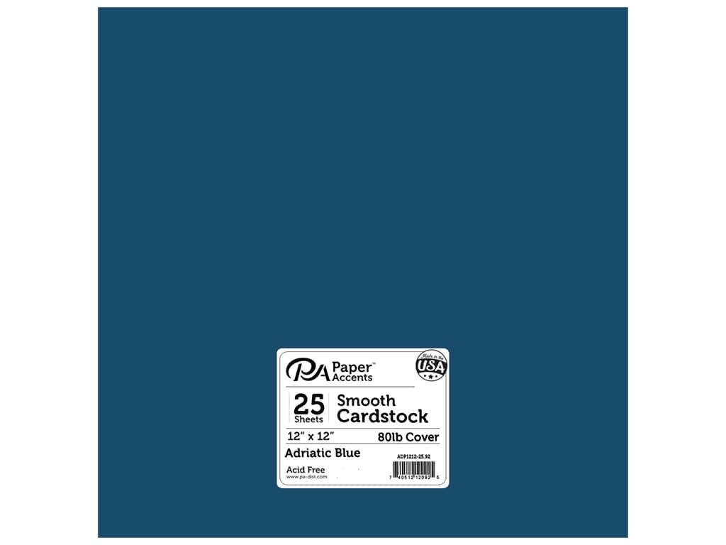 Paper Accents Cardstock 12 x 12 in. #92 Smooth Adriatic Blue 25 pc.