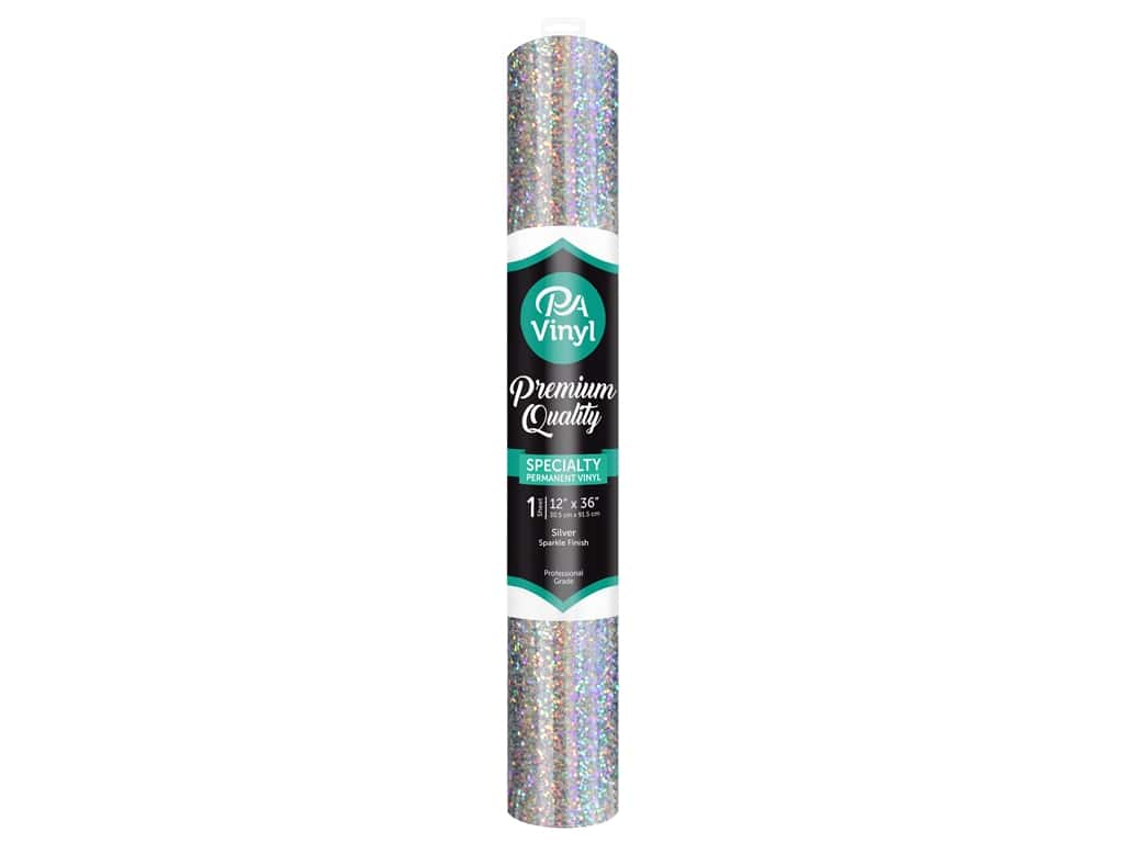 PA Adhesive Vinyl 12 x 36 in. Permanent Sparkle Silver