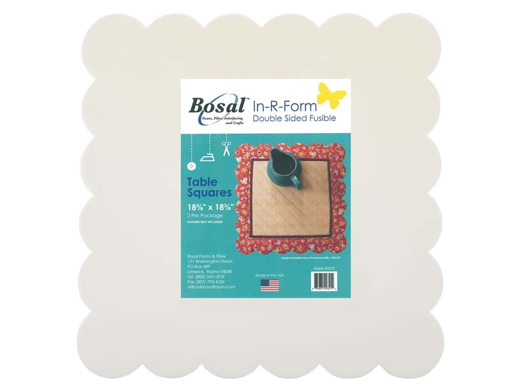 Bosal In R Form Foam Stabilizer Fusible Double Sided Table Squares 2 pc