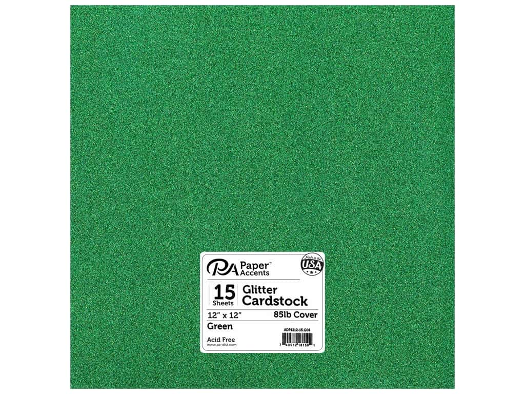 Paper Accents Glitter Cardstock 12 x 12 in. #G06 Green 15 pc.
