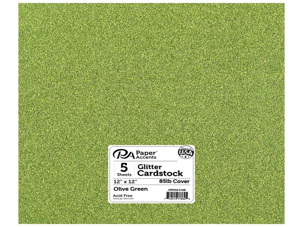 Paper Accents Glitter Cardstock 12 x 12 in. #G25 Olive Green 5 pc.