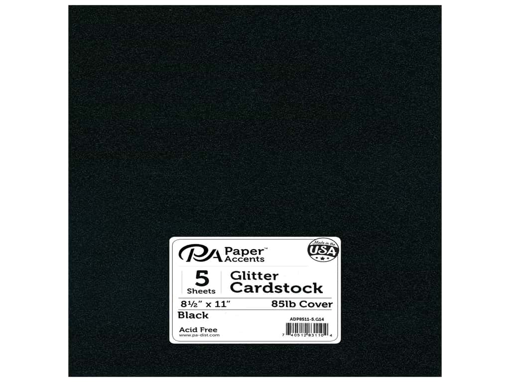 Paper Accents Glitter Cardstock 8 1/2 x 11 in. #G14 Black 5 pc.