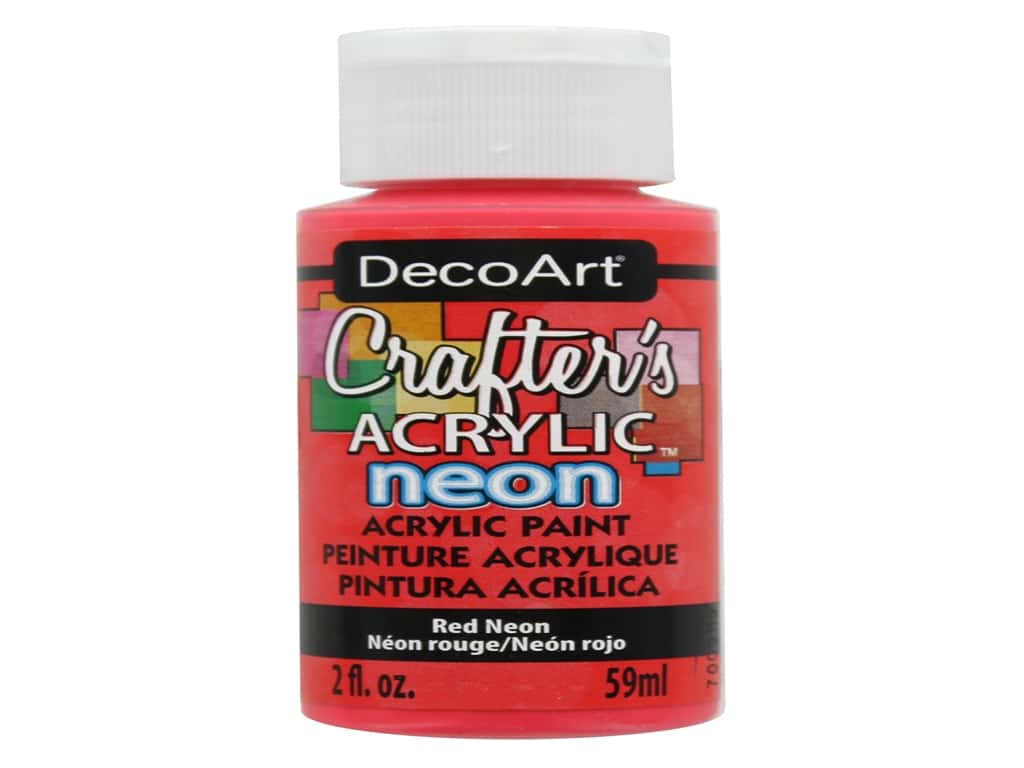 DecoArt Crafter's Acrylic Paint - #129 Neon Red 2 oz.