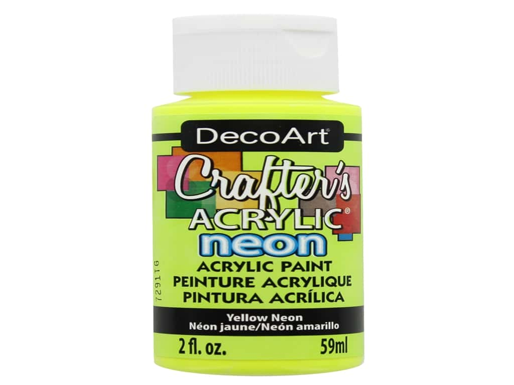 DecoArt Crafter's Acrylic Paint - #131 Neon Yellow 2 oz.