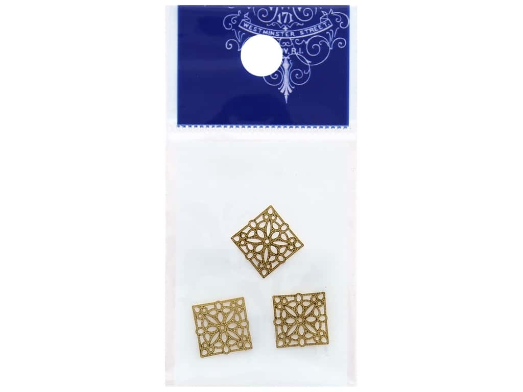 Resinate Charm Openwork Square Small Gold 3 pc