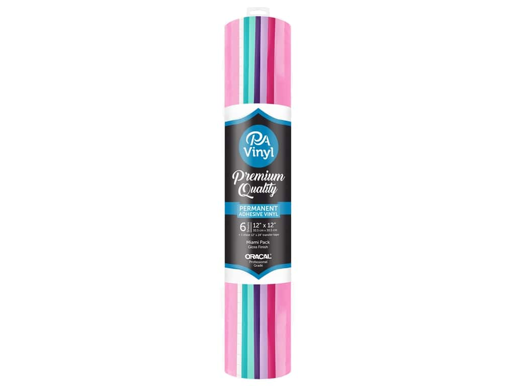 PA Adhesive Vinyl 12 x 12 in. Combo Pack Permanent Gloss Miami with Transfer Tape