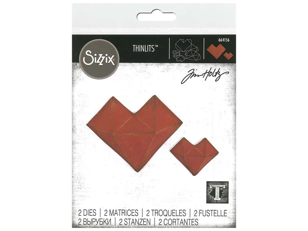 Sizzix Tim Holtz Thinlits Die Set 2 pc. Faceted Heart